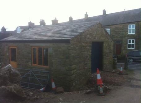 Double random stone garage build